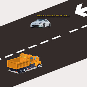 Road construction yellow flashing arrow signboard