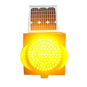 200mm Solar Powered Flashing Yellow Traffic Warning Light