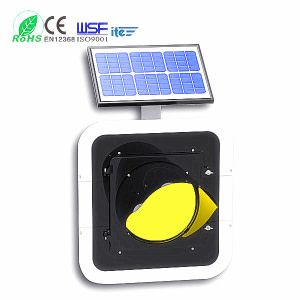 300mm Solar Powered Flashing Yellow Traffic Warning Light